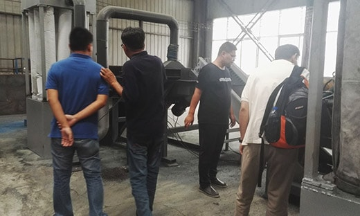 Philippines customers inspection tire recycling machine