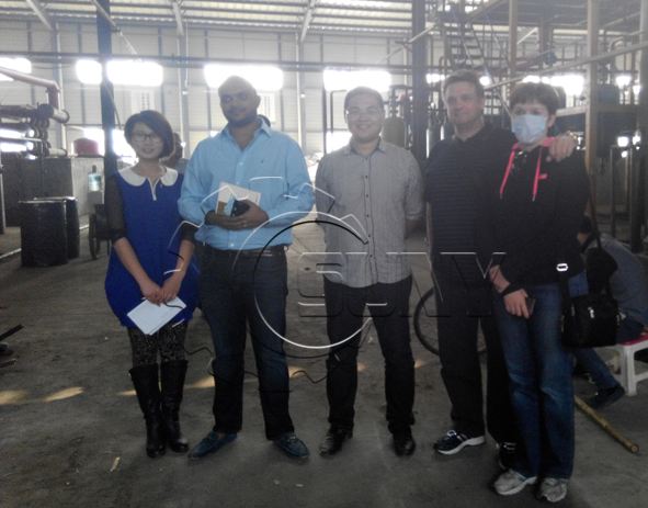 Bangladesh customers to visit tire pyrolysis system